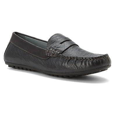 David Tate Women's Carson Black Glazed Buffalo Loafer 5 M ...