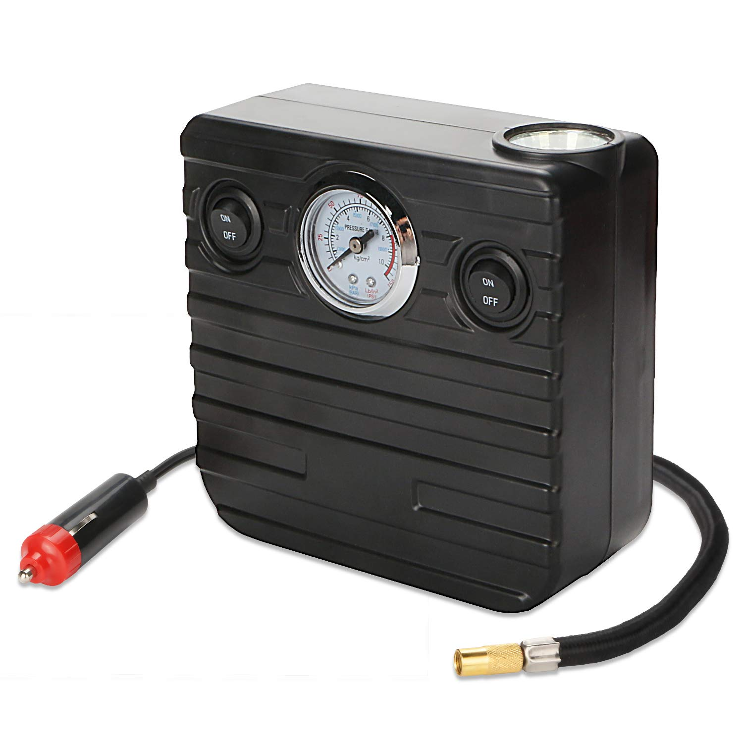 Tcisa Portable Air Compressor Pump 150 PSI - DC 12V Tire Pump Tire Inflator with Analog Display Pressure Gauge for Car