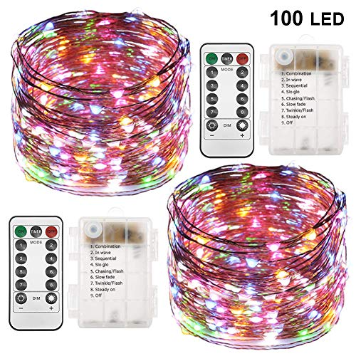 Twinkle Star 33FT 100 LED Copper Wire String Lights Fairy String Lights Battery Operated Waterproof 8 Modes LED String Lights with Remote Control Decor for Christmas Wedding Party,2 Pack,Multicolor
