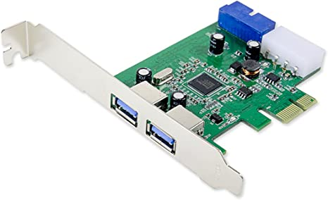 PCI-E to USB 3.0 2 Port PCI Express Expansion Card 19-Pin Power Connector green