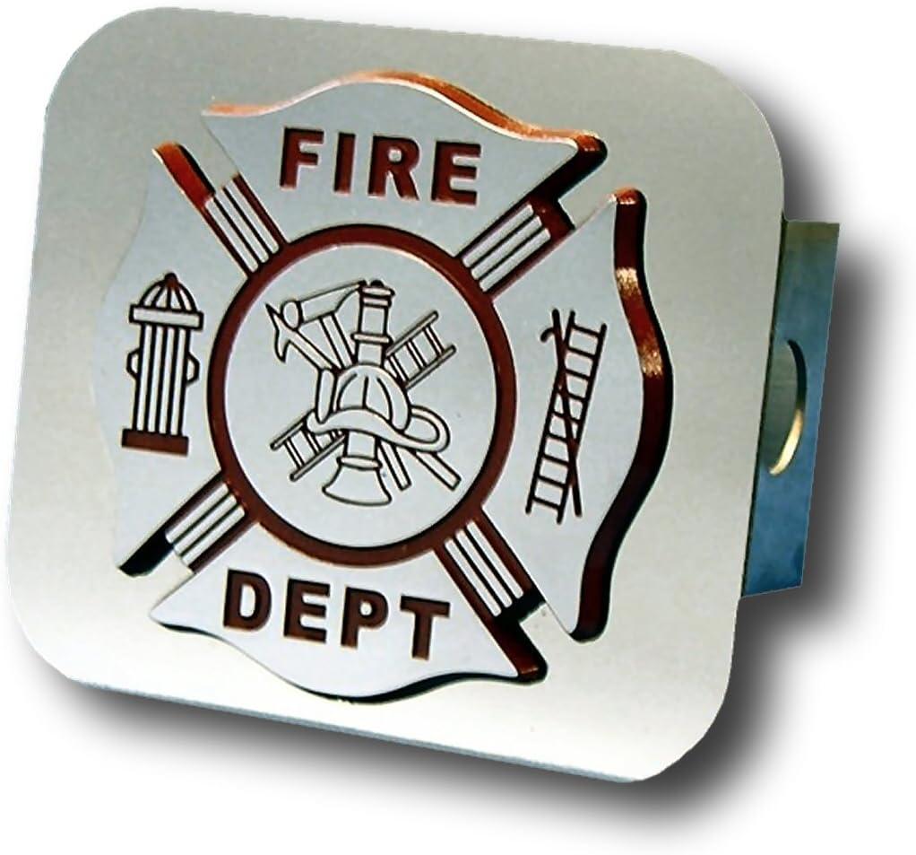 Au-TOMOTIVE GOLD Fire Department Chrome Trailer Hitch Plug