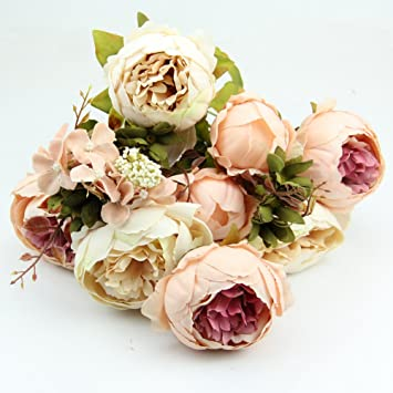 kangnice vintage artificial peony silk flowers bouquet wedding room floral decor diy beige and pink