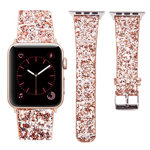 MIFFO Compatible with Apple Watch Band 38mm 40mm 42mm 44mm, 3D Glitter Bling Lattice Leather Wristband iWatch Strap Replacement for Apple Watch Series 4 Series 3 Series 2 Series 1 (Copper, 38mm)