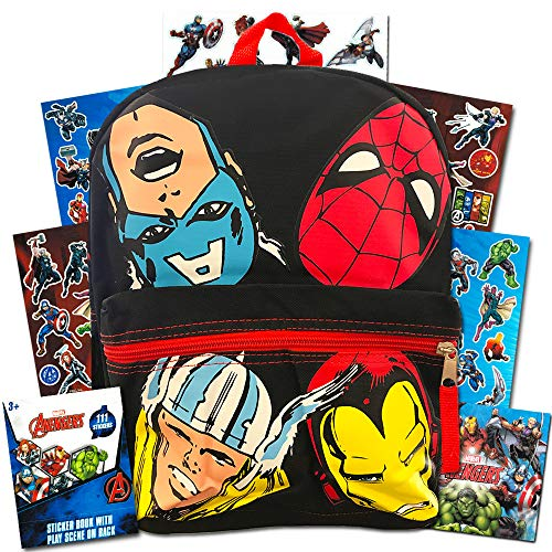 Marvel Avengers Mini Backpack Toddler Preschool --11 Inch Super Hero Backpack with Stickers, Featuring Thor, Iron Man, Captain America and Spiderman (Avengers School Supplies)]()