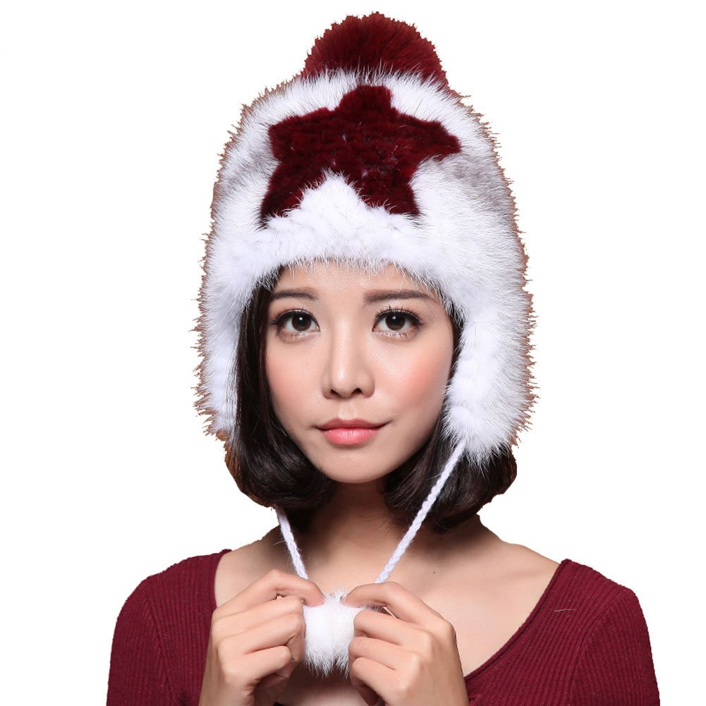 MINGXINTECH womens real marten fur hat for ladies hunter trapper cap with ear flaps by MINGXINTECH (Image #1)