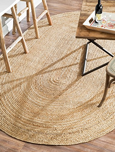 nuLOOM Handwoven Rigo Jute Rug, 5' x 8' Oval, Natural