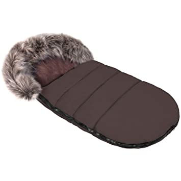 Baby Joy Gesteppter Winter Thermo Fußsack Odin Mit Kunstfell Kragen Soft Kuschel Fleece Xl 105 Cm 01 Braun Baby