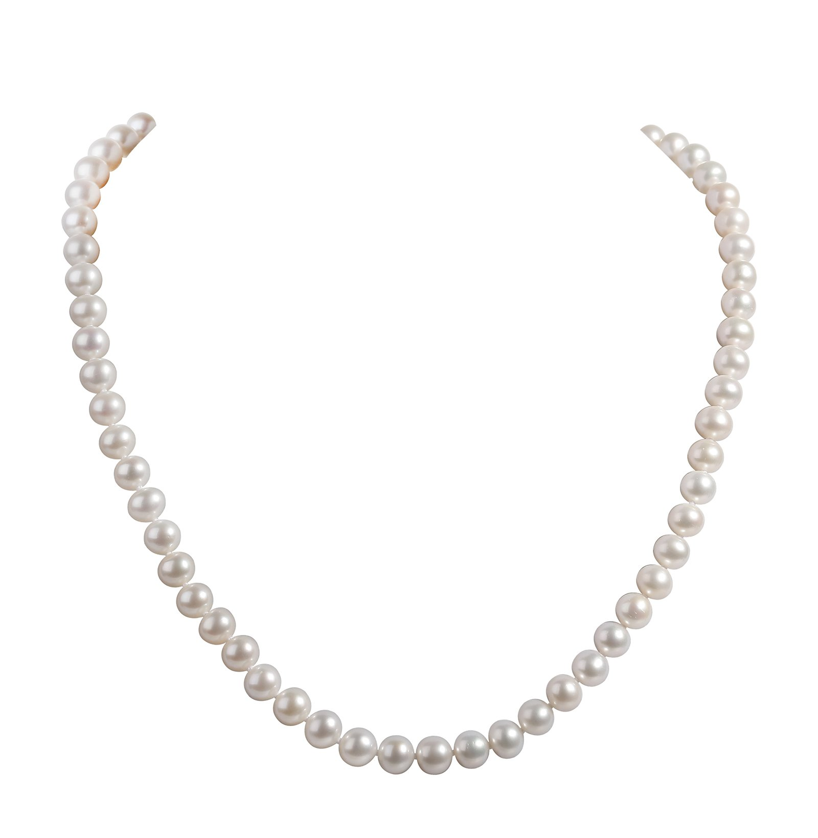 AIDNI AA Quality Freshwater Cultured White Round Pearl Necklace, Princess Length 18.5'' (7.0-7.5mm)