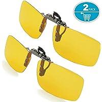 Splaks Sonnenbrille Aufsatz, 2-Stück Clip on Polarisiert Clip polarisierte Sonnenbrille Flip up Sonnenbrille Clip Gegen Licht für Frauen und Männer Unisex Brillenträger