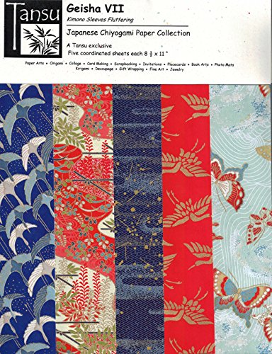 Japanese Chiyogami Papers - Geisha VII - Kimono Sleeves Fluttering by Tansu