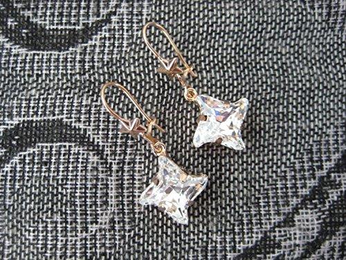 New Swarovski Twister Cut Stone in Rose Gold Plate Drop Dangle Earrings, Clear Crystal Rhinestones, Swarovski 2016 Release Cut, Gifts for Her ()