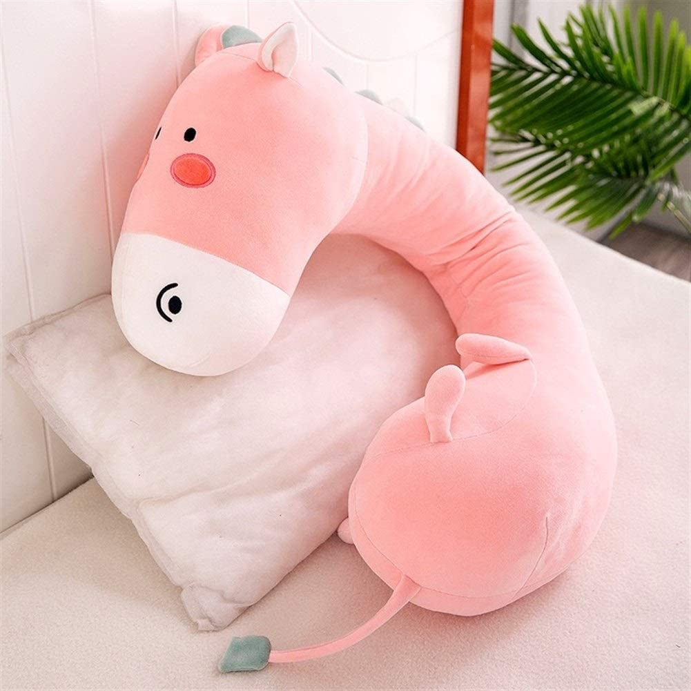 Curvas de dibujos animados almohada suave lindo juguete de dibujos animados de albergue Abrazo Almuerzo almohada creativa en forma de U Almohada for cuello Almohada de viaje portátil para regalo de cu