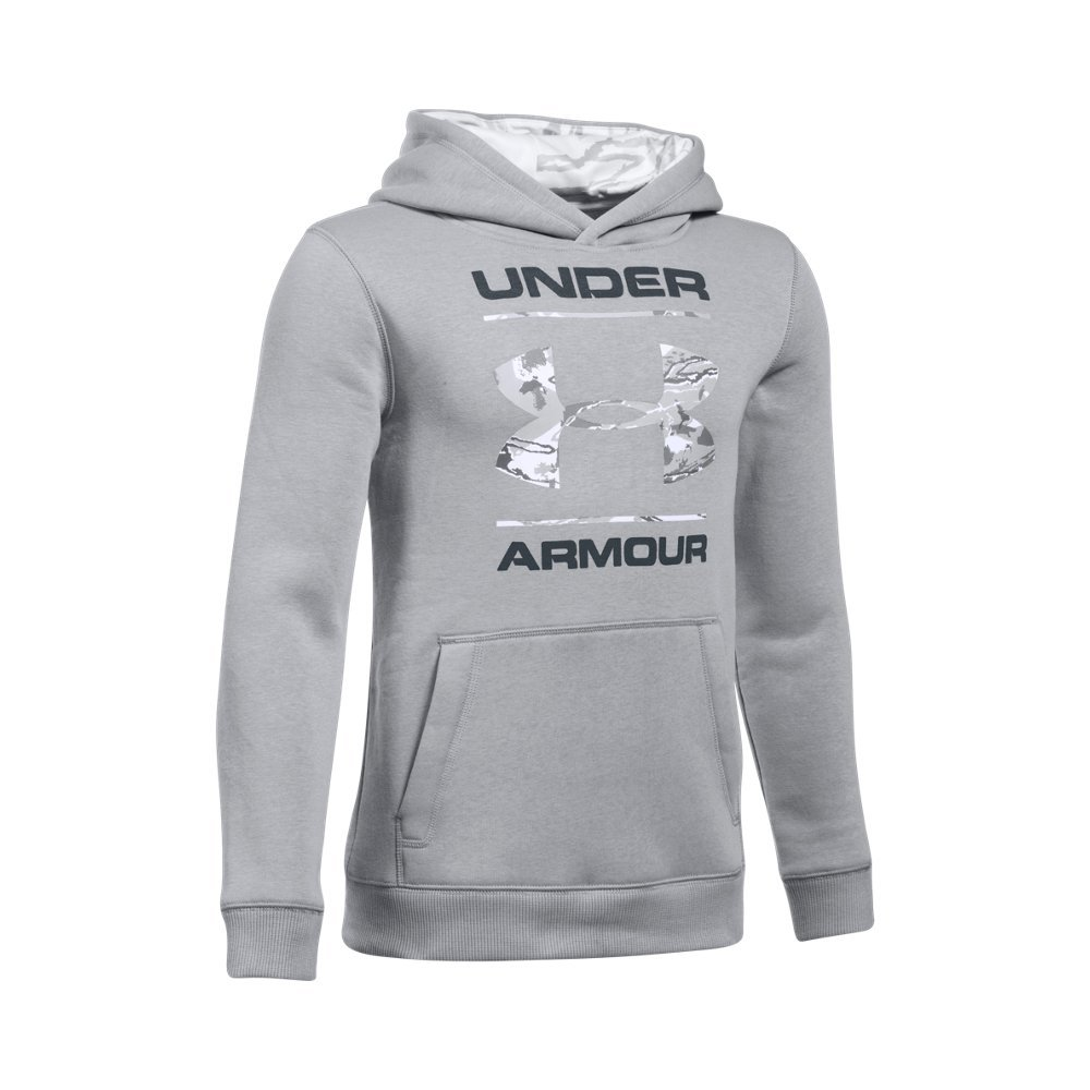 Under Armour Boys' Camo Fill Logo Hoodie,Steel (035), Youth Small