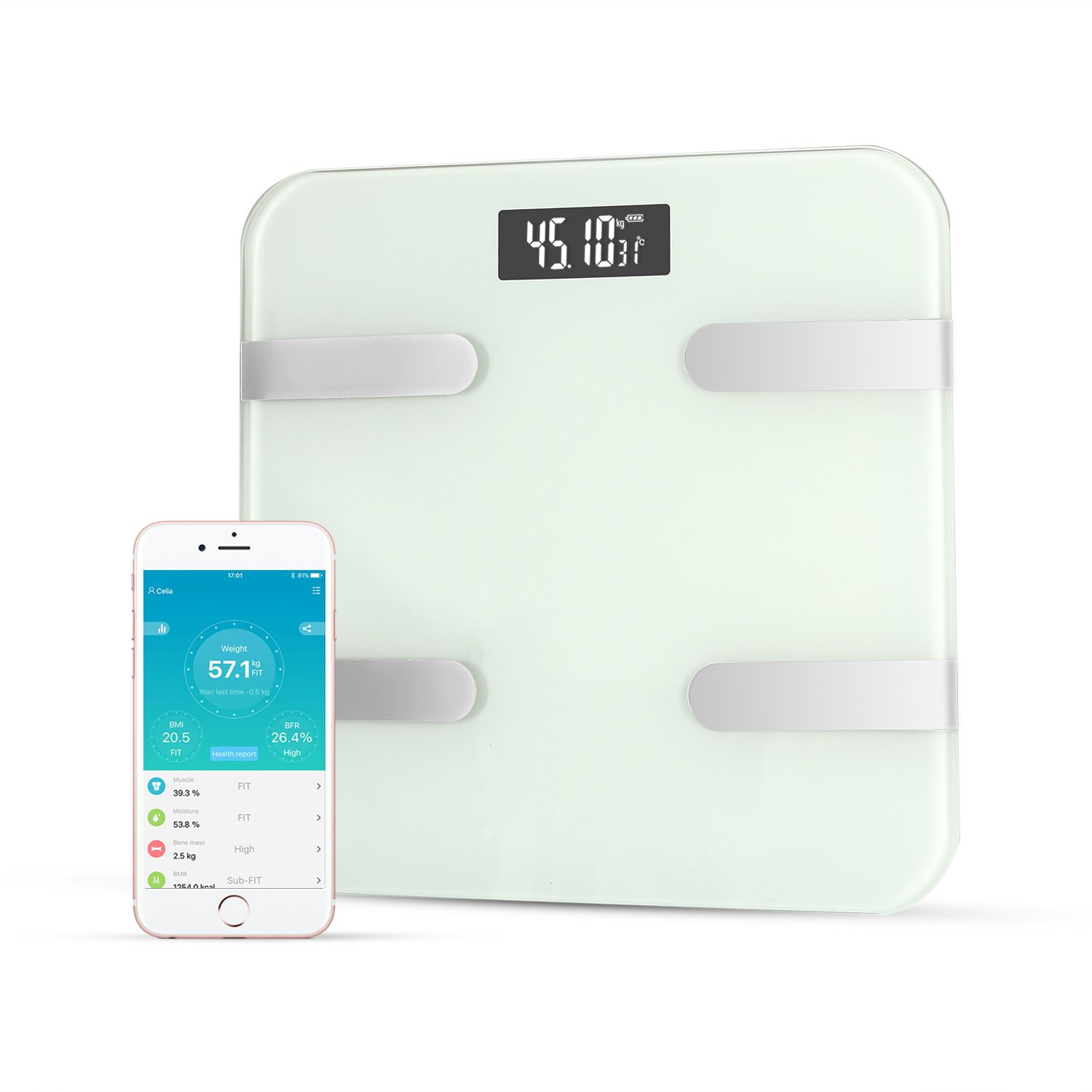 LUOYIMAN Body Fat Scale Body Composition Scale Smart Weight Scale Fat BMI Digital Scale Backlit LCD Precision/Accurate Measurements APP for iOS Android (White)