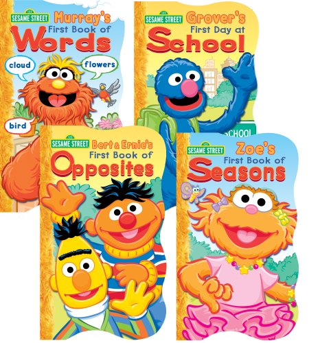 (1 2 3 Sesame Street Shaped Board Book Set ~ First Book of Words, Opposites, Seasons, and First Day of School (Set of 4))