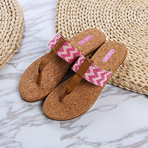 Pantoufles Pink D'été Chaussons Et 36 GUANG Légères Liège Womens 39 Mode Pink Porter du XING Word Pantoufles Sandals PBUwxFq