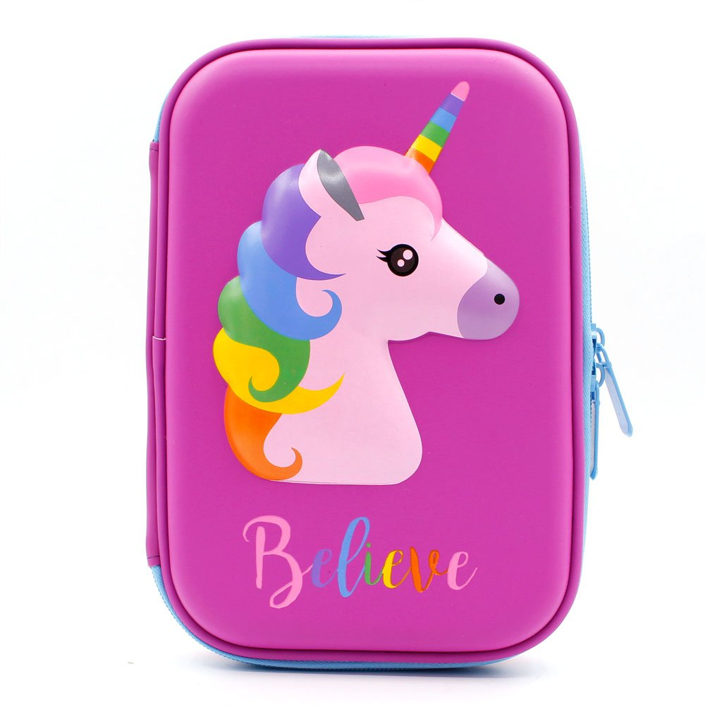 Cute Unicorn Embossed Hardtop Pencil Case - Kids Large Colored Pen Holder Box With Compartments - Girls Cosmetic Pouch Bag Stationery Organizer (Purple)