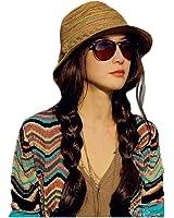 Vovotrade ❀❀Chapeau de Paille pour Femmes Couleur Rayé Plage Chapeau de Soleil Chapeau Pliable