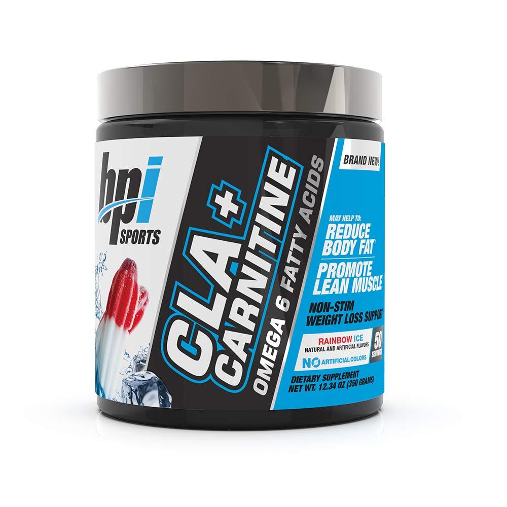 BPI Sports CLA + Carnitine - Conjugated Linoleic Acid - Weight Loss Formula - Metabolism, Performance, Lean Muscle - Caffeine Free - For Men & Women - Rainbow Ice - 50 servings - 12.34 oz