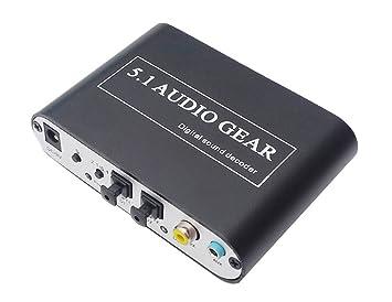 Luzan 5.1 Audio Gear Digital Sound Decoder Convertidor óptico SPDIF coaxial Dolby AC3 DTS para 5.1