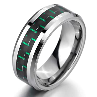 MunkiMix 8mm Tungsteno Fibra Carbono Anillo Ring Banda Venda El Tono De Plata Negro Verde Green