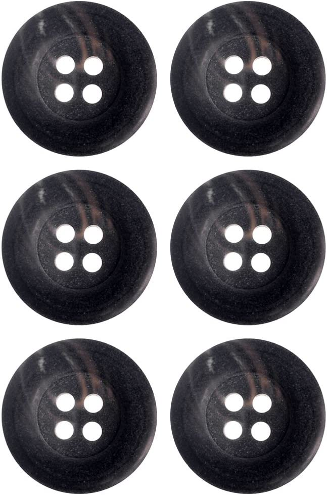 NEW 15 PC 3//4 INCH BLACK POLISHED DOME WITH SMALL RIM DESIGN BUTTONS