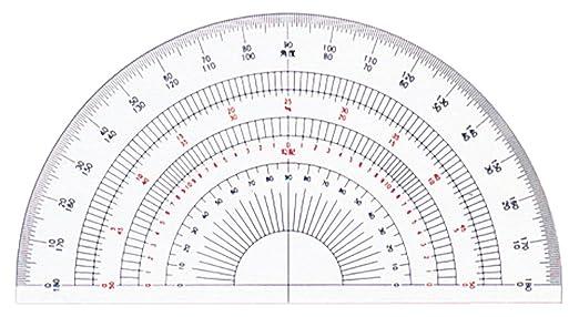 ドラパス 半円分度器 アクリル製 18cm 16505