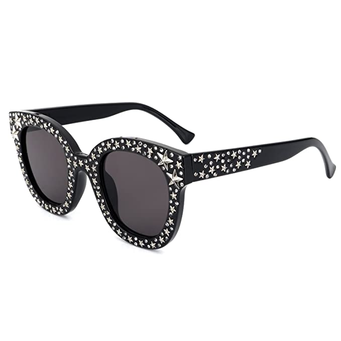 b0a9f5f1e46 ROYAL GIRL Cat Eye Sunglasses For Women Fashion Designer Acetate Frame With  Silver Star Black Frame