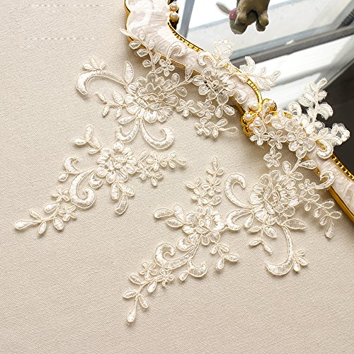 2 Pcs Light Champagne Color Flower Lace Patches for Wedding Dress DIY Clothing Flower Applique Collar Material