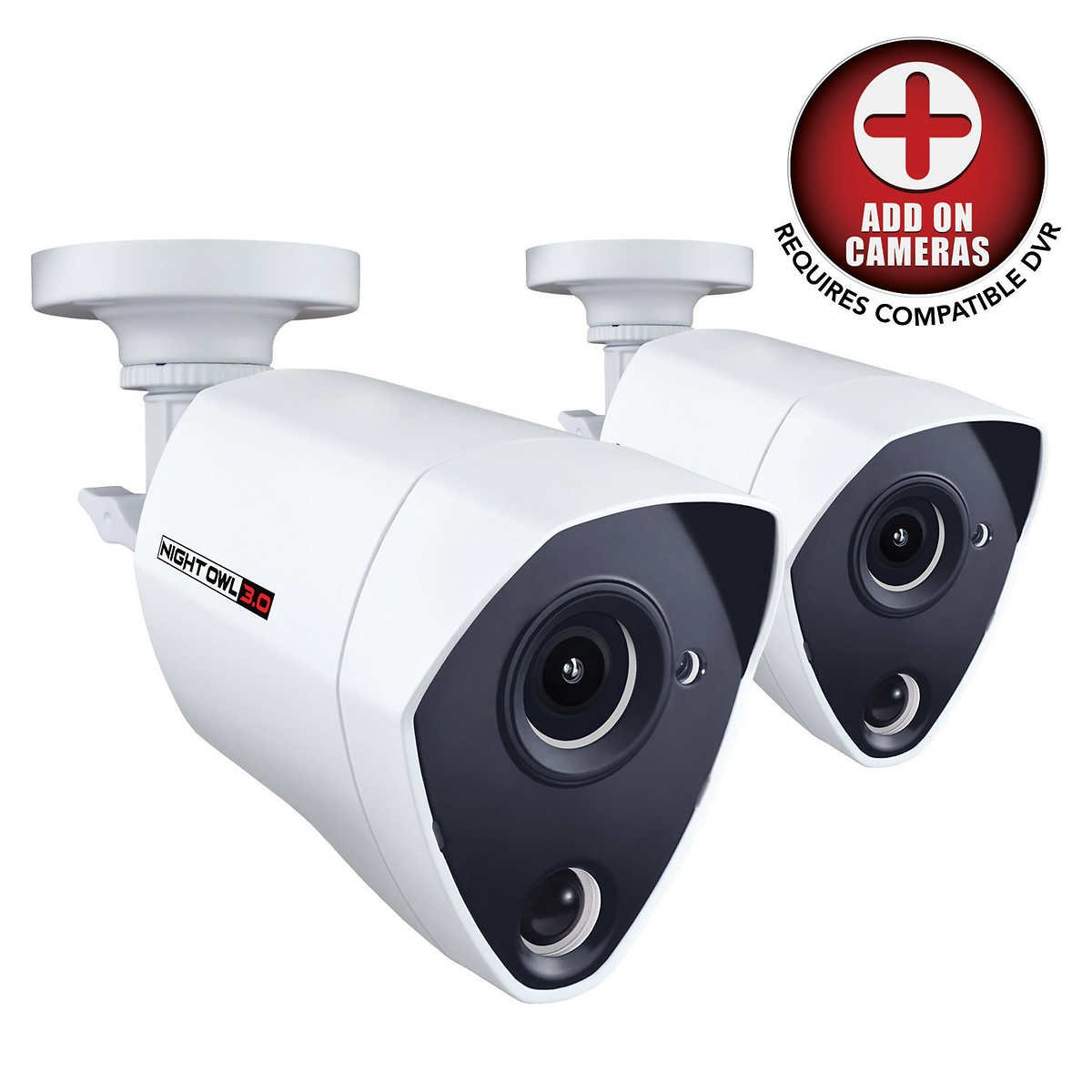 Night Owl Security 2 Pack Add-on Extreme HD 3MP Dual Sensor Wired Infrared Camera White