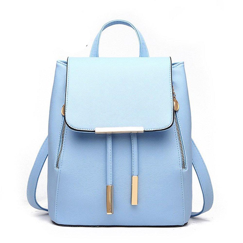 Women Backpack Purse PU Washed Leather Large Capacity Ladies Rucksack Shoulder Bag (Skyblue)