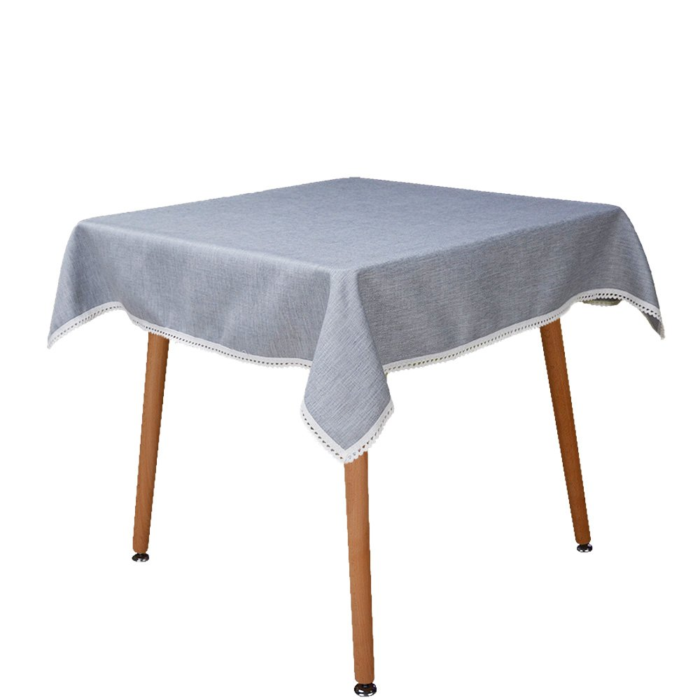MANVEN Heavy Weight Square Tablecloth 72 x 72,Everyday Kitchen Card Table Cloth/Cover,Natural Solid Linen Cotton Tabletop Decoration for Indoor Outdoor,Christmas,Party,Baby/Bridal Shower(Light Gray)