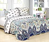 FT Home Fashion Full/Queen Size Blue Paisley Print Quilt Coverlet Set, 3 Pieces