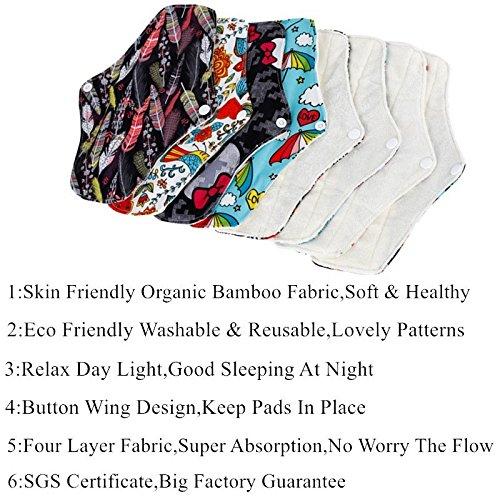 Amazon Com Simfamily 6 Pack Organic Bamboo Regular Flow Cloth Menstrual Sanitary Pads Include 1 Pack Mini Bag Baby