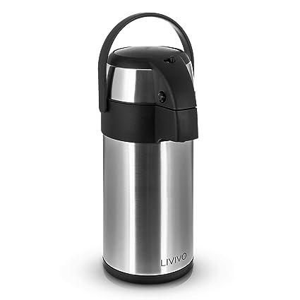 LIVIVO® - Termo de acero inoxidable, adecuado para bebidas calientes como té, café, etc. o frías, las mantiene hasta 24 horas, acero inoxidable, 3 ...