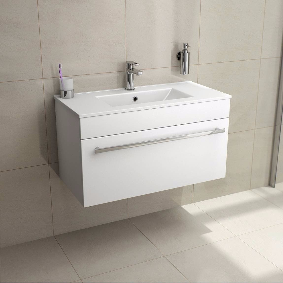 Lifestyle 600 Wall Mounted Hung Vanity Unit with Ceramic Basin Sink Underbasin Cabinet Cupboard Bathroom Furniture White High Gloss Vebath