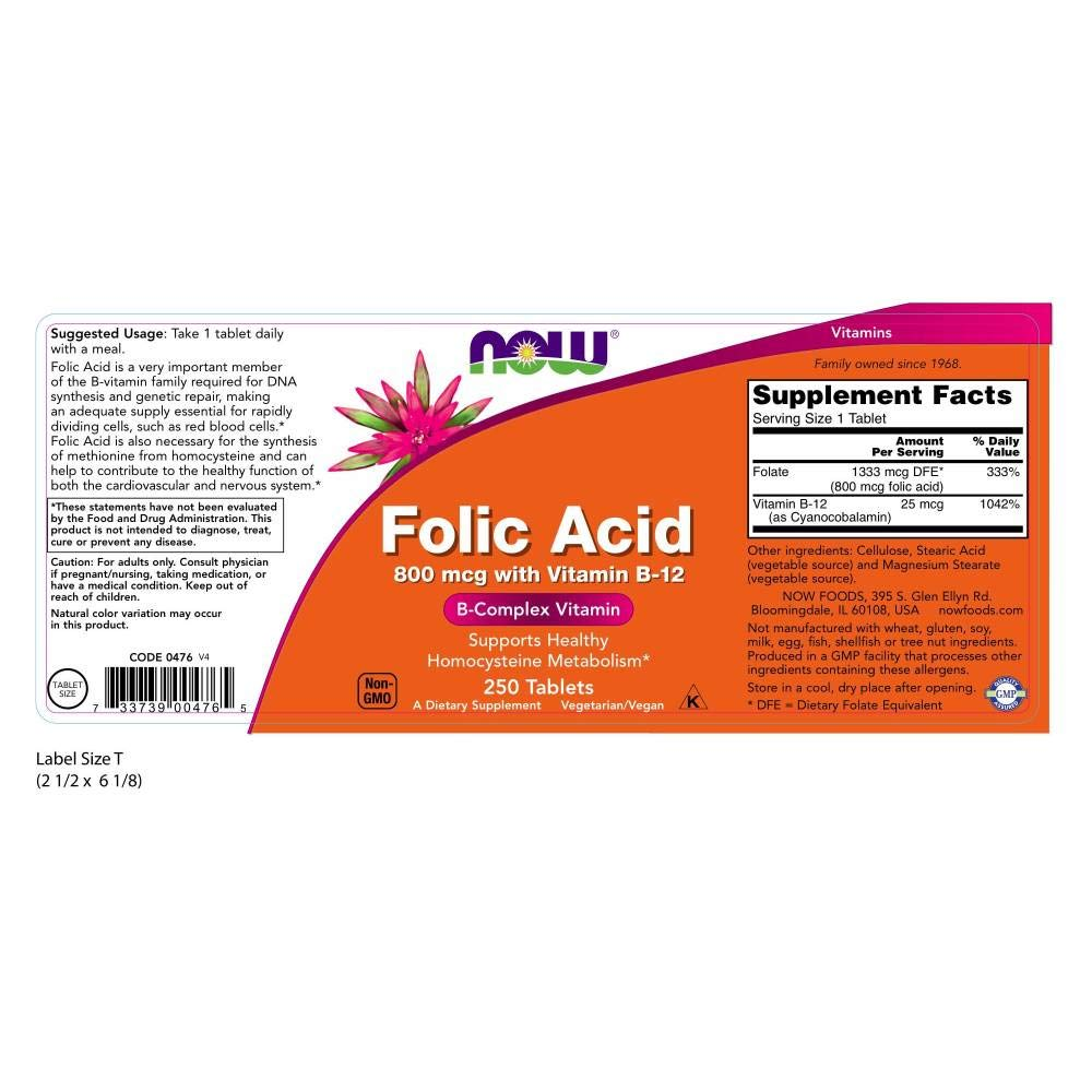 NOW Foods Folic Acid 800mcg, 250 Tablets: Amazon.es: Salud y cuidado personal