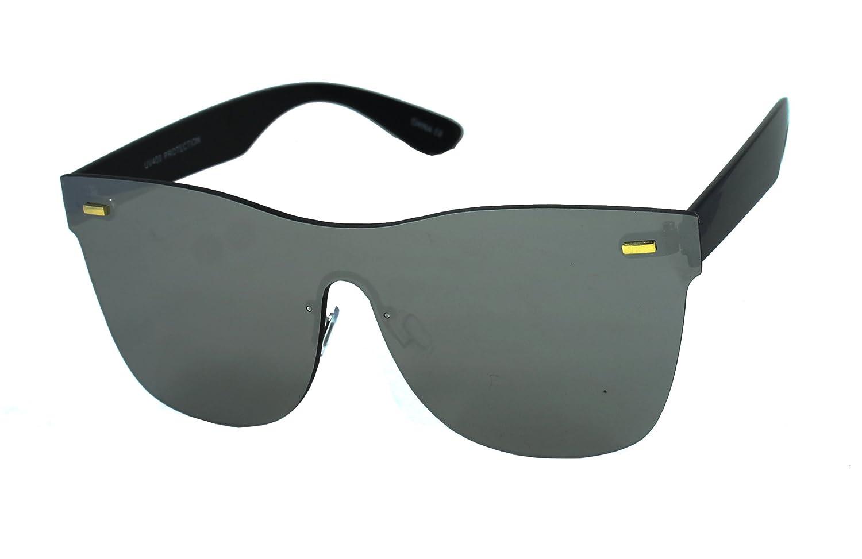 ea3c7bdc80 Amazon.com  Trendy Mirrored Rimless Unisex Fashion Colorful Sunglasses  (Silver)  Clothing