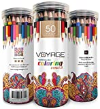 Colored Pencils by Voyage Designs Pack of 50 Adult Coloring Pencils Assorted Colors, Watercolor Pencils Set, Durable Case, for Adult Coloring Books, Drawing, Sketch, Artists. Pencils for Kids