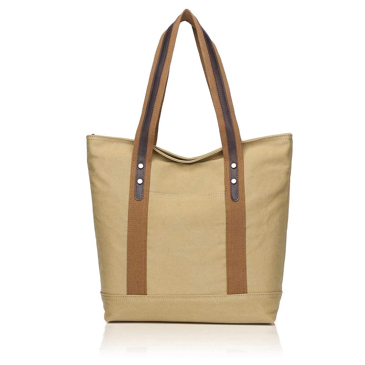KHAKI APHISON Ladies Canvas Shoulder Bag Large Shopping Bag Waterproof Large Capacity2076
