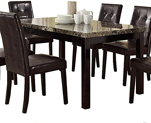 Benzara Slick Finish Faux Marble Pine Wood Dining Table