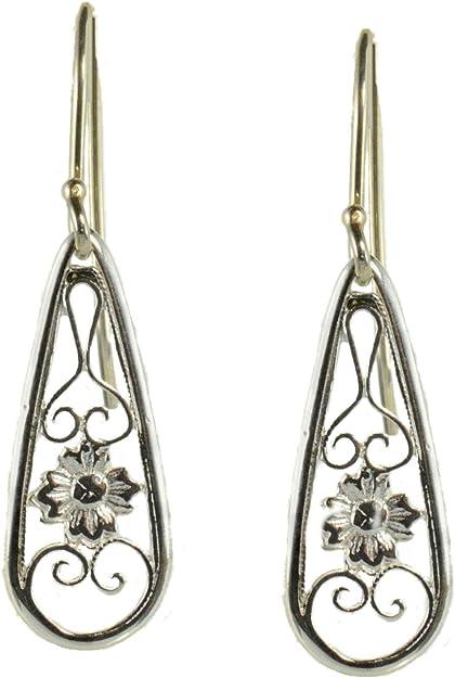 NEW LISTING Filigree Cone Drop Dangle Sterling Silver Earrings