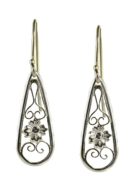 dc5deb853 Image Unavailable. Image not available for. Color: Sterling Silver Tear Drop  Shaped Dangle Earrings ...