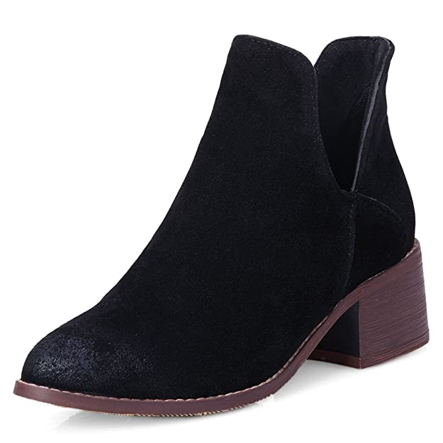 Kaloosh Women's Pointed Toe Block Low Heel Nubuck Leather Comfortable Ankle Boots EcR9tQ8l