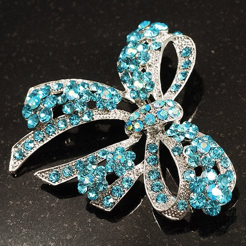 Ravissante Broche Noeud Cristal Swarovski Bleu Clair (Ton Argent)