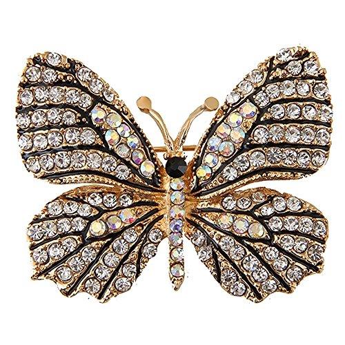 LOCOMO Fancy Cyrstal Rhinestone Butterfly Brooch Pin JBH004WHT