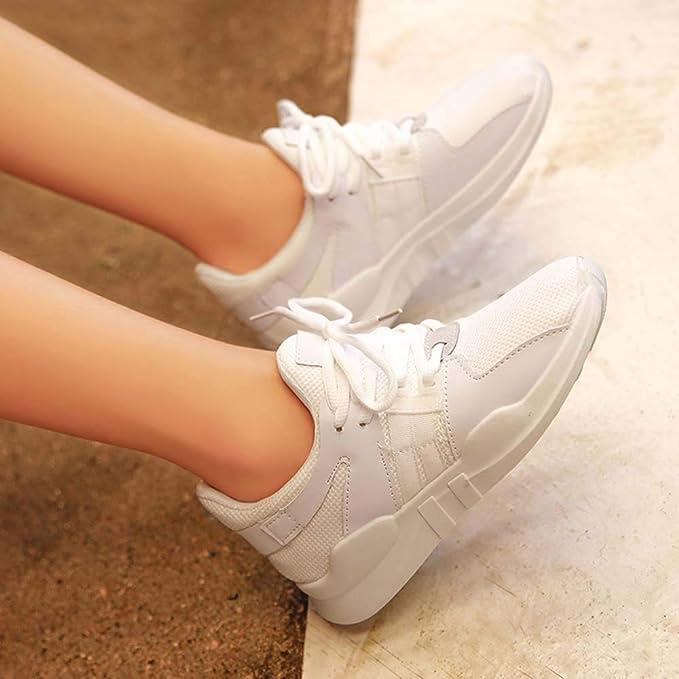 ZHRUI Moda para Mujer Transpirable Zapatos de Malla Casual al Aire Libre Caminar Estudiante Zapatos Deportivos (Color : Blanco, tamaño : UK-5.5): Amazon.es: ...
