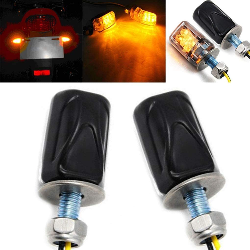 Yizhet 4PCs Turn Signal Light 12V Motorcycle Indicators 6LEDs Waterproof Motorcycle Mini Turn Signal Indicator Amber Light Bulb Compatible with M6 Motorbikes