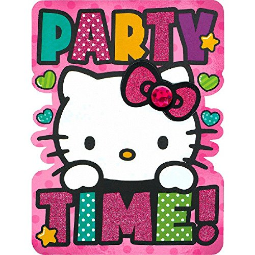 - Hello Kitty Rainbow Party Time Deluxe Jumbo Postcard Party Invitation, Paper , 8