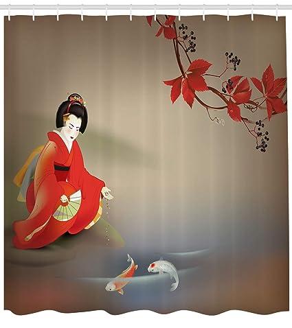 Lunarable Koi Fish Shower Curtain By Geisha Feeding Sacred Beast Autumn Time Asian Culture Eastern